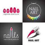 Set of nails salon, nails art vector logo, icon, symbol, emblem. Sign. Template graphic design element with tools for nails - lacquer, finger vector illustration