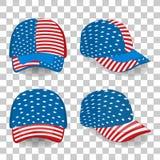 Set nakrętki w turysty stylu: capina styl Stany Zjednoczone flaga Obrazy Stock