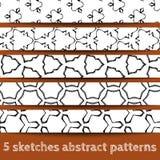 Set nakreśleń abstrakta bezszwowi wzory Obraz Stock
