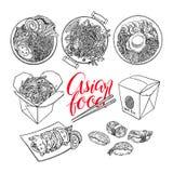 Set nakreślenie azjata jedzenie ilustracja wektor