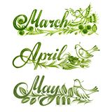 Set name of the month spring Stock Photos