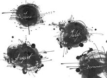 Set of names of summer month: june, july, august, drawn by hand with liquid ink dye, in freehand style. Large raster illustration, Royalty Free Stock Images