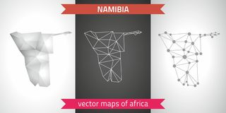 Namibia set of grey and silver mosaic 3d polygonal maps. Graphic vector triangle geometry outline shadow perspective maps. Set of Namibia polygonal mosaic modern Stock Image