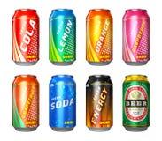 Set napój puszki Zdjęcia Stock