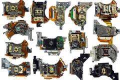 Set napędu optycznego pickup jednostki, odizolowywający na bielu zdjęcia stock