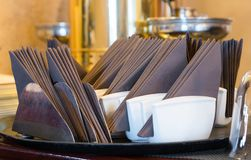 Set of napkins, catering service at a restaurant Royalty Free Stock Image