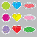 Set napkins pretty different shapes as a circle, heart, oval. For labels, notes, valentine's day. vector illustration