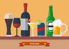 Set napoju baru mieszkania ikona Zdjęcia Stock