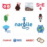 Set of nargile, cofee, aikido, stratis, expi, earth hour, never give up, mister, simple tree service icons. Set Of 13 simple editable icons such as nargile Royalty Free Stock Photography
