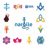 Set of nargile, earth hour, guidestar, massage therapist, saffron, corn stalk, crawfish, holy trinity, grim reaper icons. Set Of 13 simple  icons such as nargile Stock Photos
