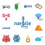 Set of nargile, nervous system, odometer, earth hour, tiger, penrose, school, never give up, she icons. Set Of 13 simple editable icons such as nargile, nervous Stock Photos