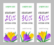Set narrow flower applique banner paper flowers crocuses. Set vertical narrow spring banner applique with colored paper flowers and an inscription discount for Royalty Free Stock Photo