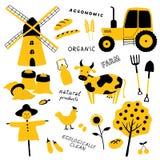 Set narzędzia, zwierzęta, rośliny i maszyneria rolniczy i rolni, Kreskówki krowa, kurczak, ciągnik, strach na wróble, młyn, banat royalty ilustracja