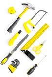 Set narzędzia dla budowy i naprawy domu na białego tła odgórnym widoku Zdjęcia Stock
