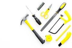 Set narzędzia dla budowy i naprawy domu na białym tło odgórnego widoku egzaminie próbnym Obraz Stock