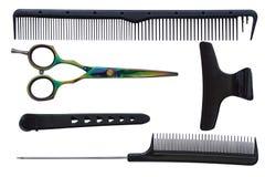 Set narzędzia dla fryzjera: nożyce, gręple i włosiane klamerki, Zdjęcie Royalty Free