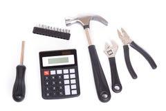 Set narzędzia i kalkulator zdjęcie stock