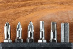 Set narzędzia inkasowi od głów dla śrubokrętów kawałków fotografia stock