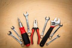 Set narzędzia na drewnianym panelu Zdjęcia Royalty Free
