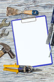 Set narzędzia na drewnianym tle, copyspace Fotografia Royalty Free