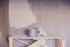 Set narzędzie, szpachelka i wiadro tynk kielni, Zdjęcie Stock