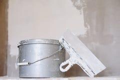 Set narzędzie, szpachelka i wiadro tynk kielni, Zdjęcia Stock