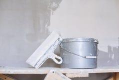 Set narzędzie, szpachelka i wiadro tynk kielni, Obraz Stock