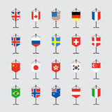Set of national flag with stand vector illustration Royalty Free Stock Photography