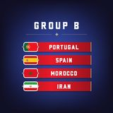 Set of National Flags. Football Championship Groups B. World Soccer Tournament. Vector illustration Royalty Free Stock Photos