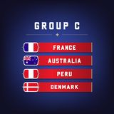 Set of National Flags. Football Championship Groups C. World Soccer Tournament. Vector Stock Photo
