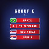 Set of National Flags. Football Championship Groups E. World Soccer Tournament. Vector illustration Royalty Free Stock Images