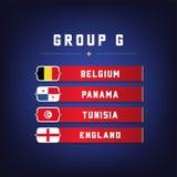 Set of National Flags. Football Championship Groups G. World Soccer Tournament. Vector illustration Stock Image