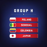 Set of National Flags. Football Championship Groups H. World Soccer Tournament. Vector illustration Royalty Free Stock Image