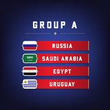 Set of National Flags. Football Championship Groups A. World Soccer Tournament. Vector Royalty Free Stock Photo