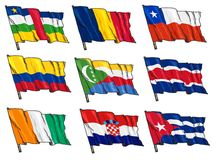 Set of national flags Royalty Free Stock Photography
