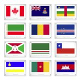 Set of National Flags on Metal Texture Plates Royalty Free Stock Photography