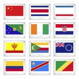 A Set of National Flags on Metal Texture Plates Stock Photo