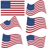 Set of national flags of United States of America isolated on white background. Official colors and proportion of flag of USA.  Royalty Free Stock Photos
