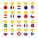 Set national flags of the world isolated on white background. Medal with the flag - vector illustration.  Royalty Free Stock Photos
