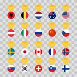 Set national flags of the world on transparent background. Medal with the flag - vector illustration.  stock illustration