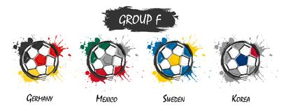 Set of national football team group F . Realistic watercolor art paint with stained splash color . Flat design . Vector for intern. Ational world championship Stock Image