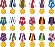 Set of national medals Stock Images