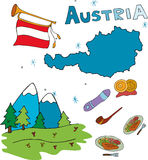 The set of national profile of the Austria Royalty Free Stock Photography