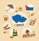 The set of national profile of the czech. The set of national profile of the cartoon state of the world isolated on the background. Hand drawing decorative Stock Image