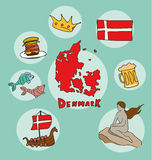 The set of national profile of the denmark Royalty Free Stock Image