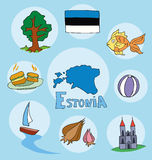 The set of national profile of the estonia Stock Image