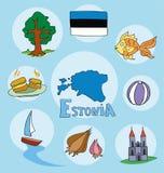 The set of national profile of the estonia Stock Image