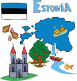 The set of national profile of the Estonia Royalty Free Stock Image