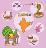 The set of national profile of the india. The set of national profile of the cartoon state of the world isolated on the background. Hand drawing decorative Stock Photography