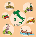 The set of national profile of the italy Royalty Free Stock Image